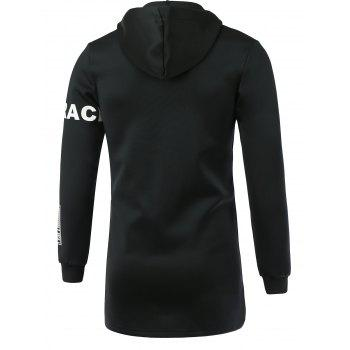 Letter Print Hooded Long Sleeve Zip-Up Hoodie - BLACK XL