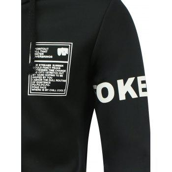 Letter Print Hooded Long Sleeve Zip-Up Hoodie - BLACK L