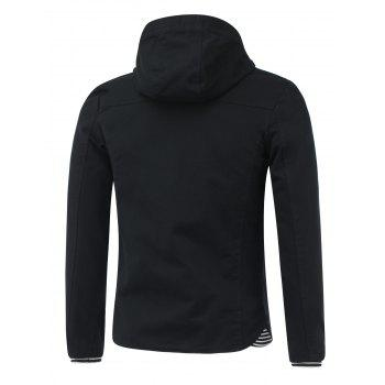 Rib Splicing design capuche Zip-Up Jacket - Noir 2XL