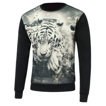 3D Tiger Print Round Neck Long Sleeve Sweatshirt