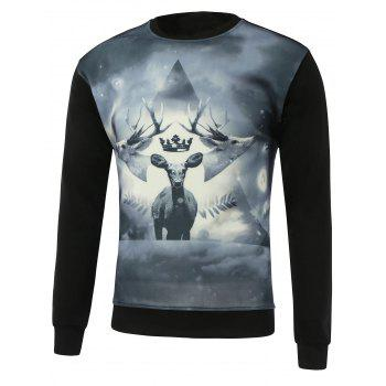 3D Deer Print Round Neck Long Sleeve Sweatshirt