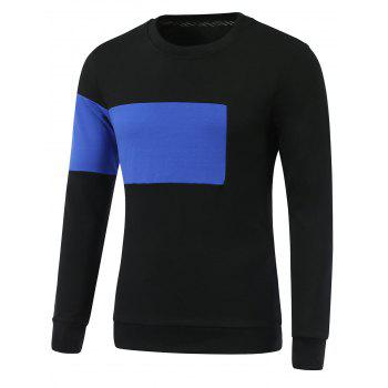 Side-Zip Design Color Block Round Neck Long Sleeve Sweatshirt