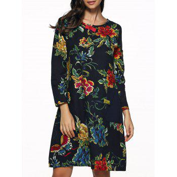 Floral  Print Patch Design Dress