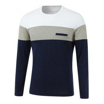 Stripe Spliced Design Round Neck Long Sleeve T-Shirt