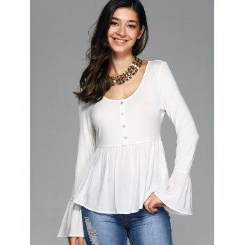 Bell a manches Scoop Neck Tee - Blanc S