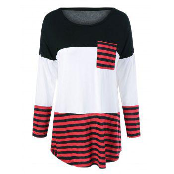 One Pocket Striped High Low T-Shirt - BLACK AND WHITE AND RED BLACK/WHITE/RED