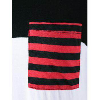 One Pocket Striped High Low T-Shirt - BLACK/WHITE/RED BLACK/WHITE/RED
