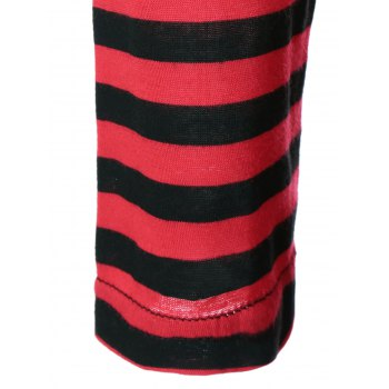 One Pocket Striped High Low T-Shirt - BLACK/WHITE/RED XL