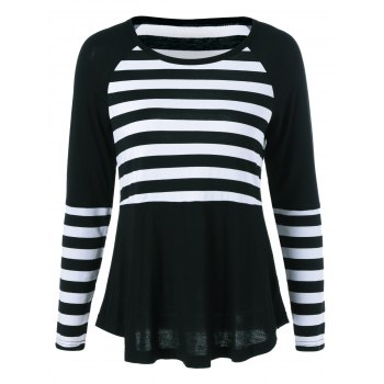 Raglan Sleeve Striped Trim T-Shirt - WHITE AND BLACK WHITE/BLACK