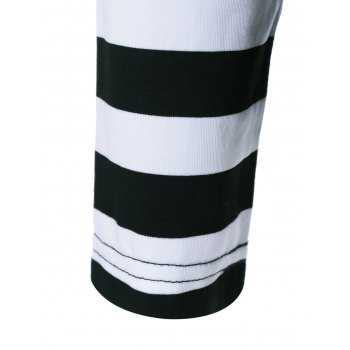 Raglan Sleeve Striped Trim T-Shirt - WHITE/BLACK WHITE/BLACK