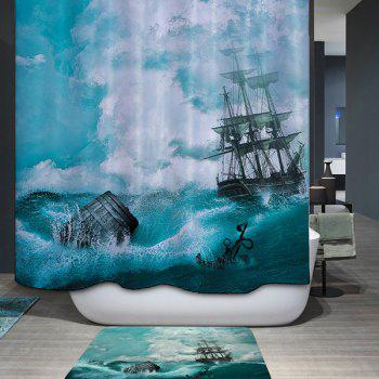 Mouldproof Waterproof Sail Ship Printed Shower Curtain - COLORMIX COLORMIX