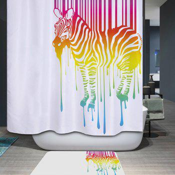 Mouldproof Waterproof Colors Zebra Printed Shower Curtain - COLORMIX COLORMIX