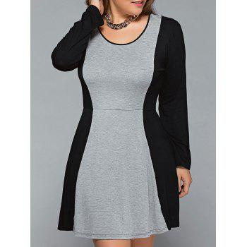 Plus Size Long Sleeve Spliced Dress