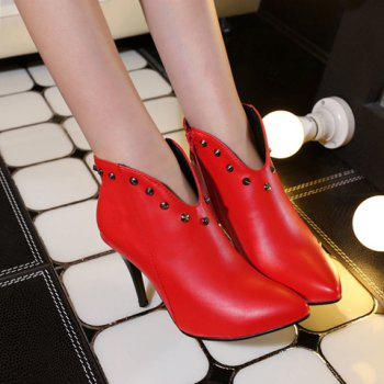 Trendy Pointed Toe and Rivet Design Women's Ankle Boots - RED 39