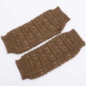 Pair of Stripy Crochet Knitted Fingerless Gloves - COFFEE