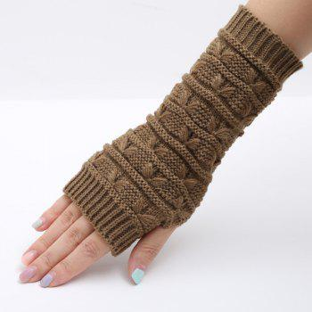 Pair of Stripy Crochet Knitted Fingerless Gloves