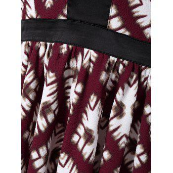 Long Sleeve Printed Robe patineuse - Rouge et Blanc M