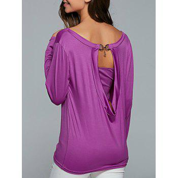 Cut Out Casual T-Shirt With Strapless Crop Top - PURPLE PURPLE