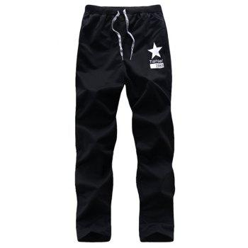 Drawstring Five-Point Star Print Casual Pants