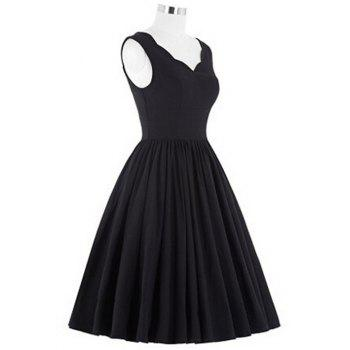 V Neck Scalloped Puffball Dress - BLACK XL
