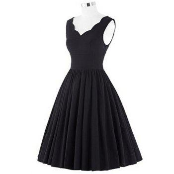V Neck Scalloped Puffball Dress - BLACK L