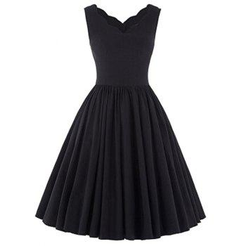 V Neck Scalloped Puffball Dress - BLACK M
