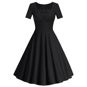 Square Neck Bowknot Puffball Dress - BLACK 2XL