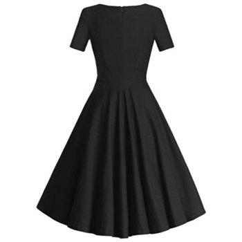 Square Neck Bowknot Puffball Dress - BLACK L