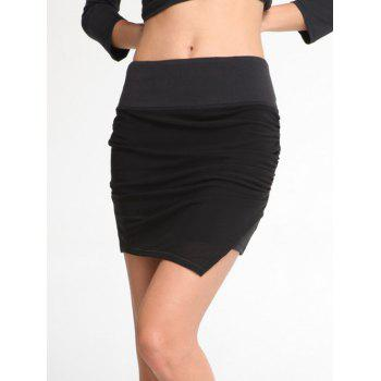 Stretchy Ruched Asymmetric Sporty Skirt