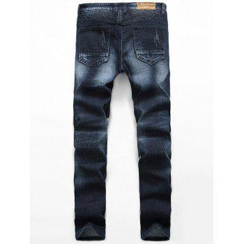 Insert Zipper Fly Straight Leg Scratched Pintuck Jeans - BLACK 33