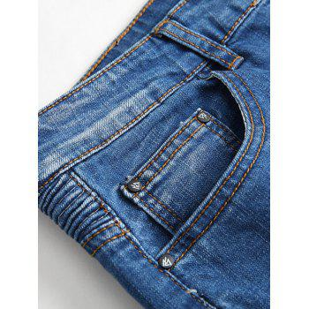 Insert Zipper Fly Straight Leg Scratched Pintuck Jeans - LIGHT BLUE 32