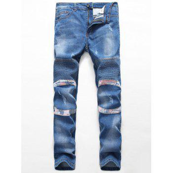 Insert Zipper Fly Straight Leg Scratched Pintuck Jeans