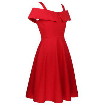 Cami Flounce Ruffles Cold Shoulder Dress - Rouge S
