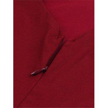 Zipper Fit and Flare Dress - WINE RED XL