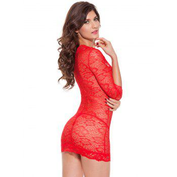 Plunging Neck See-Through Lace Babydoll - RED 2XL
