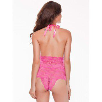 Halter Lace Backless Sheer Teddies - ROSE RED XL