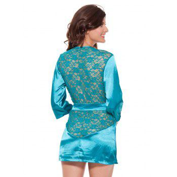 Lace Spliced Wrap Cut Out Sleepwear - GREEN 2XL