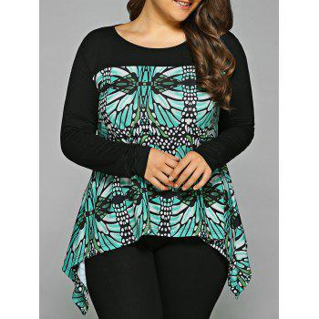 Buy Plus Size Abstract Pattern Asymmetrical Blouse BLACK/GREEN
