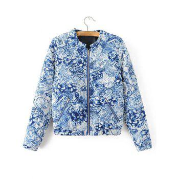 Zipped Porcelain Print Quilted Jacket