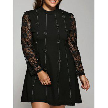 Buttoned Lace Spliced Dress