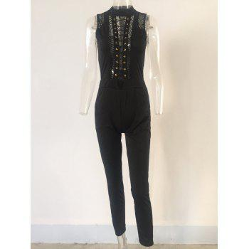 Zipper Flying Openwork Lace-Up Jumpsuit