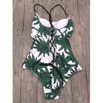 Cami Leaf Print Lace-Up Swimwear - WHITE S