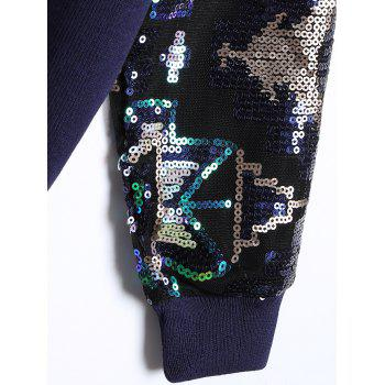 Sequined Zip-Up Baseball Jacket - CADETBLUE ONE SIZE(FIT SIZE XS TO M)