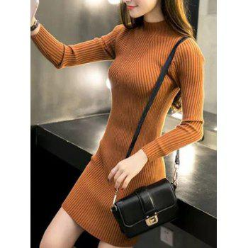 High Neck Bodycon Sweater Dress