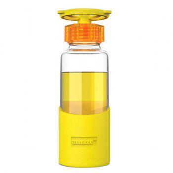 420ML Portable Faucet Valve Cover Transparent Water Glass With Silicon Case - YELLOW YELLOW