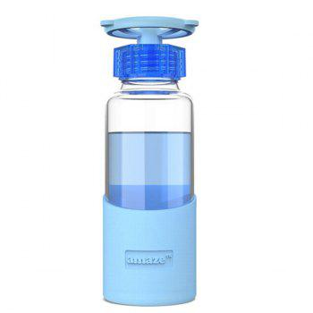 420ML Portable Faucet Valve Cover Transparent Water Glass With Silicon Case - BLUE BLUE