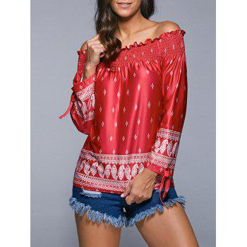 Tribal Print Tied-Up Off The Shoulder Blouse