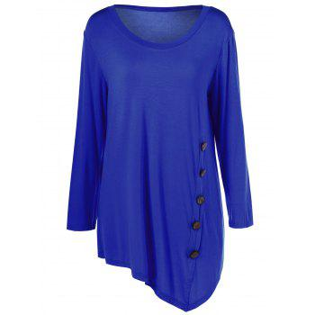 Plus Size Inclined Buttoned Blouse
