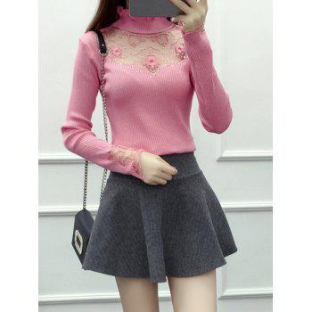 Beading Embroidered Turtleneck Sweater