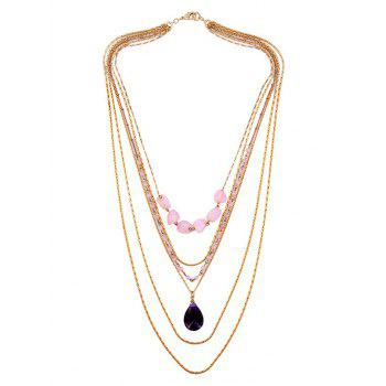 Teardrop Forme Faux Gemstone collier pendentif multicouches - Or